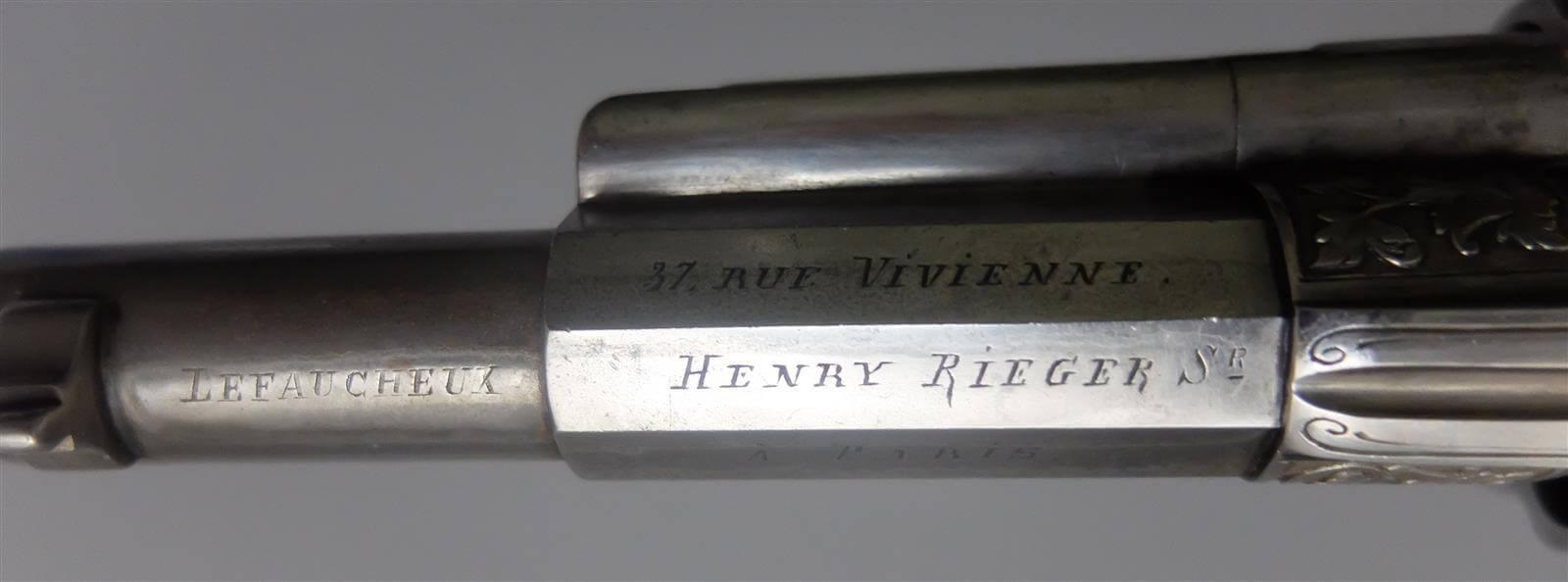 Revolver type 1874 de luxe gravé: marquages Lefaucheux - Henry Rieger
