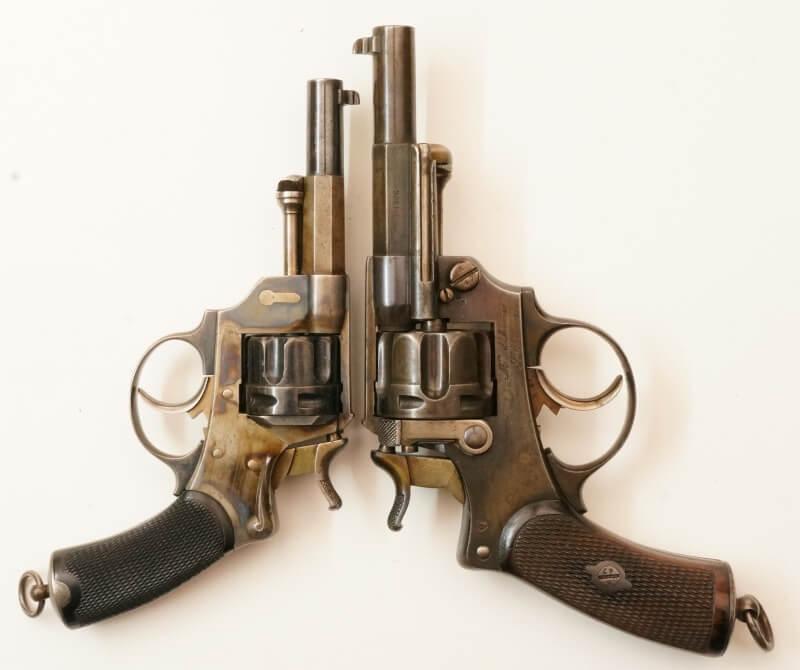 Revolver 1874 civil en calibre 380, comparaison avec un revolver modèle 1874 réglementaire