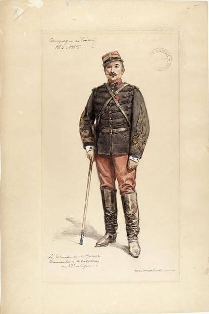 Le commandant Godart, commandant le bataillon du 23e de ligne, campagne du Tonkin, 1883-1885