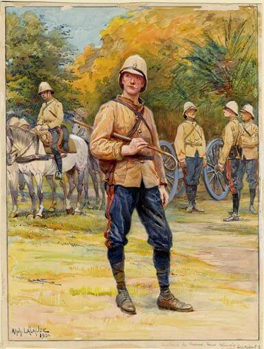 Tenue de campagne de la troupe - Artillerie de Campagne - campagne du Dahomey en 1898, par Alphonse Lalauze en 1906