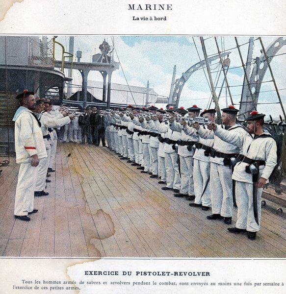 Marins à l'entrainement au tir au revolver 1873