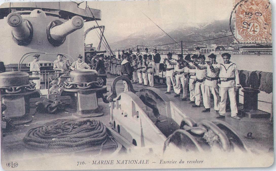 Exercice du revolver, carte postale Marine Nationnale