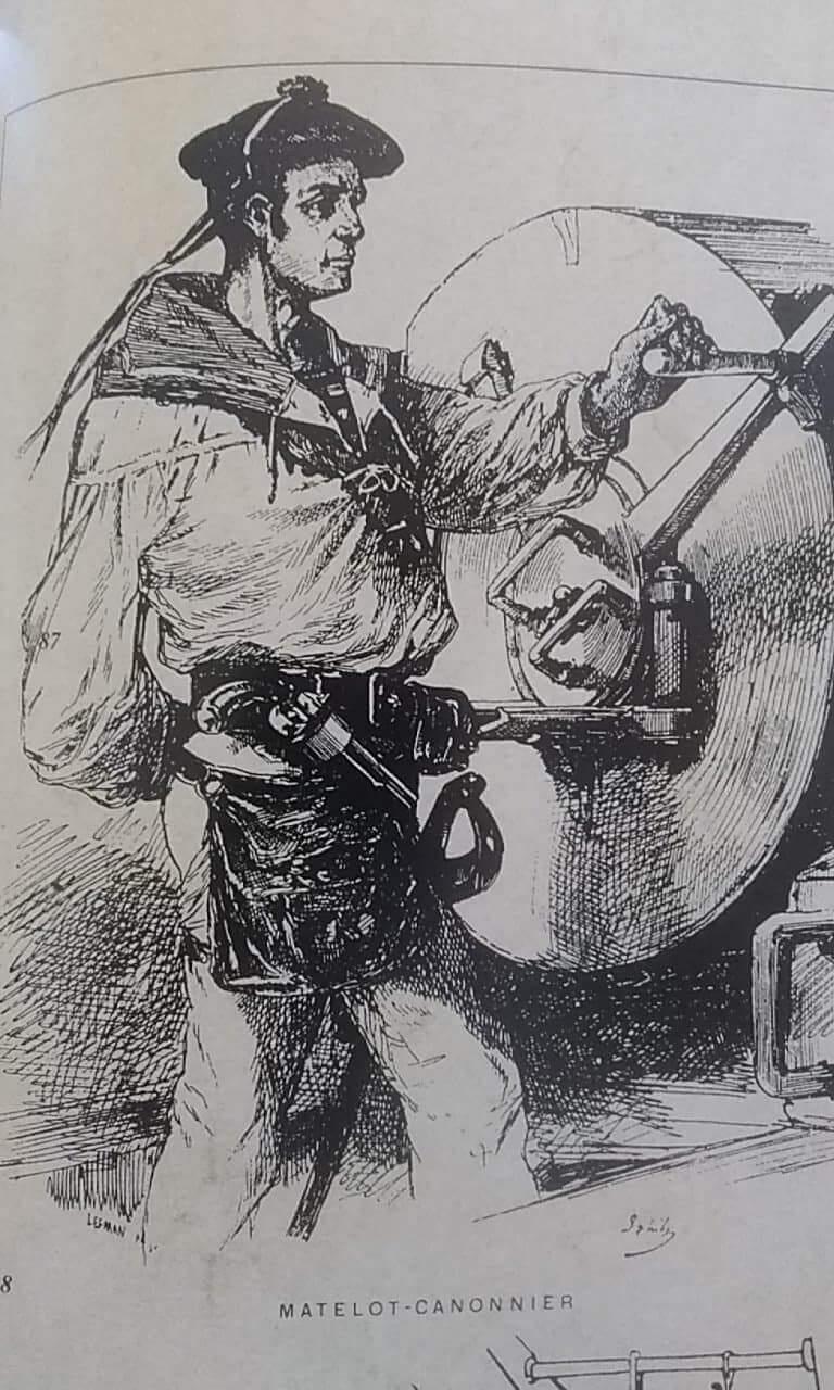 Matelot-canonnier avec revolver modèle 1858 de marine dans son étui-douille