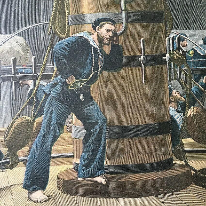 Léon Couturier Branle-bas de combat (1886), gros plan sur l'étui douille