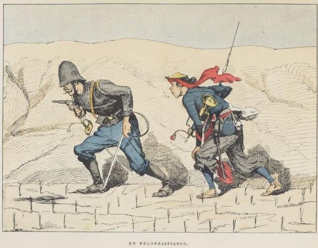 En reconnaissance, gravure de Rollet de l'Isle dans Au Tonkin et dans les mers de Chine (1886)