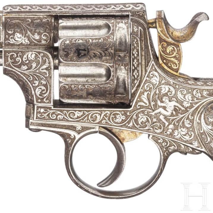 Revolver Warnant Chamelot-Delvigne gravé et nickelé