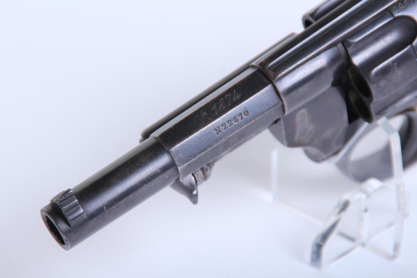Marquage controleur et acierie sur le canon d'un revolver 1874