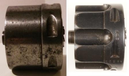 barillet plein pour le revolver 1873 et barillet cannelé pour le revolver 1874