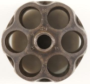 Poinçons sur le barillet d'un revolver 1874