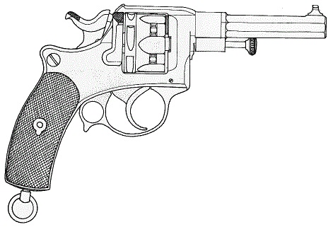 Tracé du revolver d'ordonnance modèle 1885 (Armes à feux réglementaires, Tome VI, J.Boudriot)