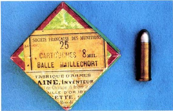 Boîte de 25 cartouches pour révolver non réglementaire calibre 8mm balle blindée (balle plomb chemisée maillechort) et cartouche