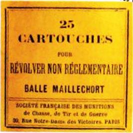 Boîte de 25 cartouches pour révolver non réglementaire calibre 8mm balle blindée (balle plomb chemisée maillechort)