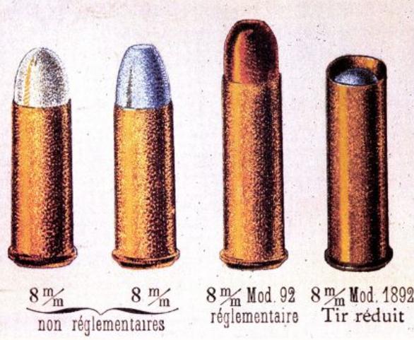 catalogue de la SFM de 1912, présentant les cartouches de 8mm réglementaires et non réglementaires