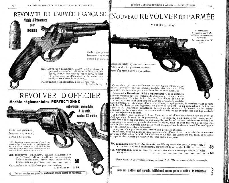 Extrait catalogue de la Société Manufacturière d'Armes présentant le revolver modèle 1889/90, sous l'appelation (erronée) 1892