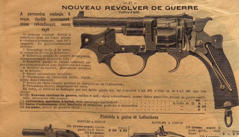 Extrait catalogue Rouchouse présentant, en 1891, le revolver modèle 1889/90