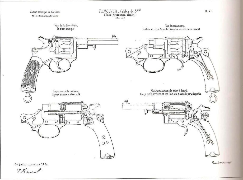 Tracé d'étude du revolver modèle 1889/90, par l'atelier d'étude de la MAS