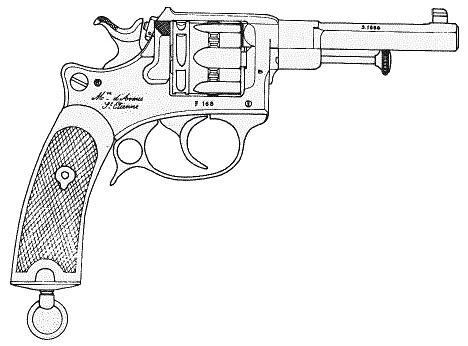 Tracé du revolver d'ordonnance modèle 1887 contrat militaire