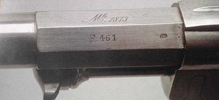 Marquage Mle 1873 sur le canon sur un revolver modèle 1873 de début de fabrication (F 461)