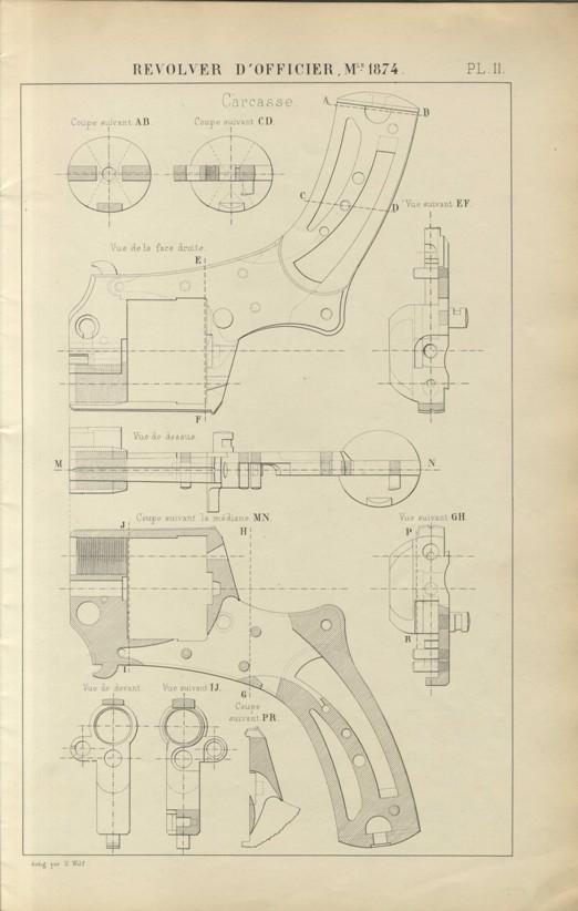 Armes à feu portatives: Revolver d'officier modèle 1874. Table des dimentions (planches) 1878