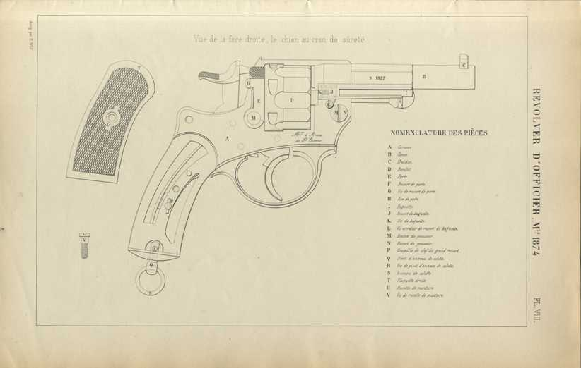 Armes à feu portatives: Revolver d'officier modèle 1874. Table des dimentions (planches) 1878