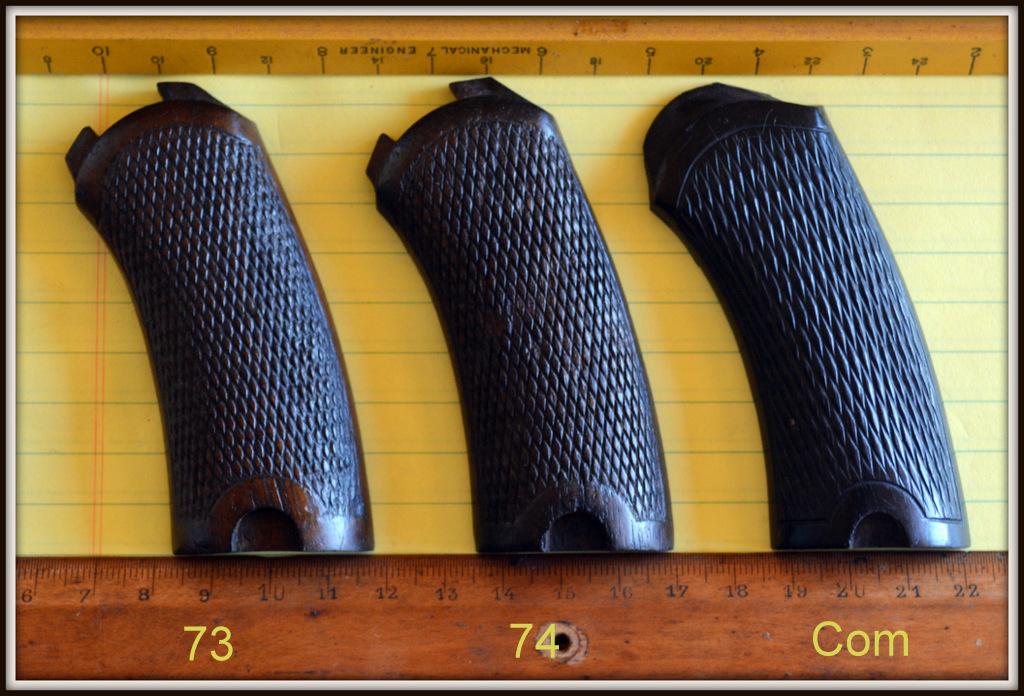 comparatif plaquettes gauches revolvers modèles 1873, 1874 et modèle commercial