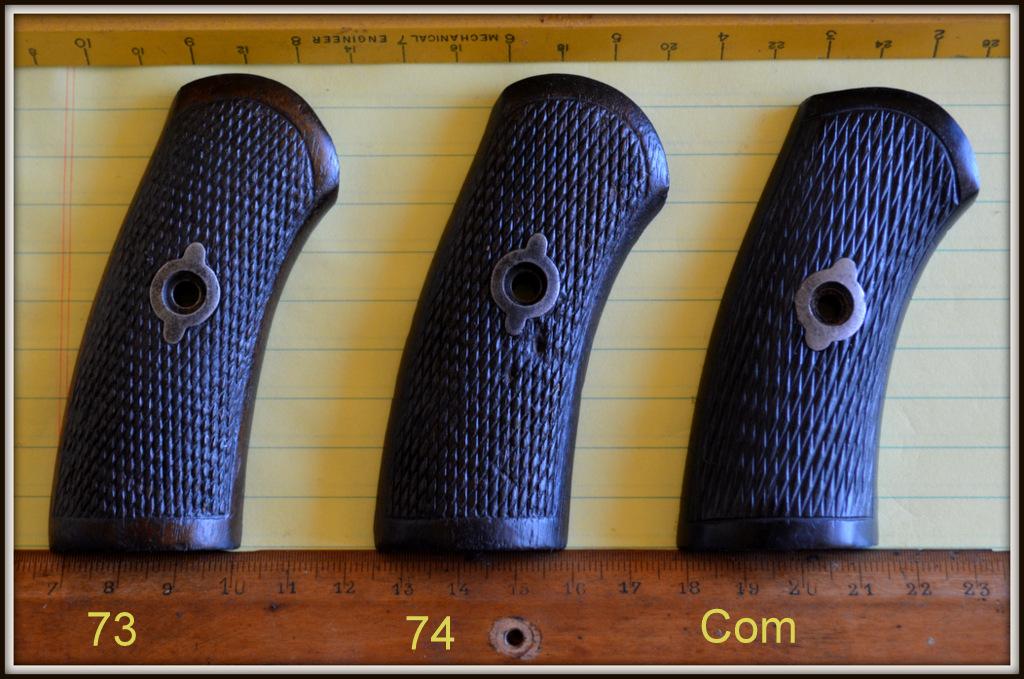 comparatif plaquettes droites revolvers modèles 1873, 1874 et modèle commercial