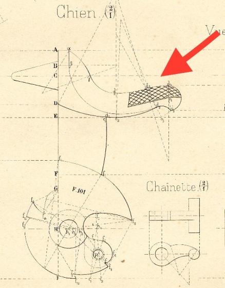 Plan du chien du revolver modèle 1873