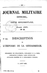 JMO 11 Aout 1885 Description des Uniformes de la Gendarmerie