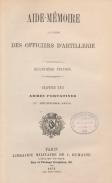 Aide Mémoire à l'usage des officiers d'artillerie Décembre 1879