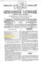 L'Echo de la Gendarmerie Nationale, n483, 1er Décembre 1889