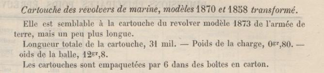 description de la cartouche de marine selon l'Aide Mémoire à l'usage des officiers d'artillerie, Quatrième édition. Chapitre XVIII: Armes portatives, 1er Décembre 1879