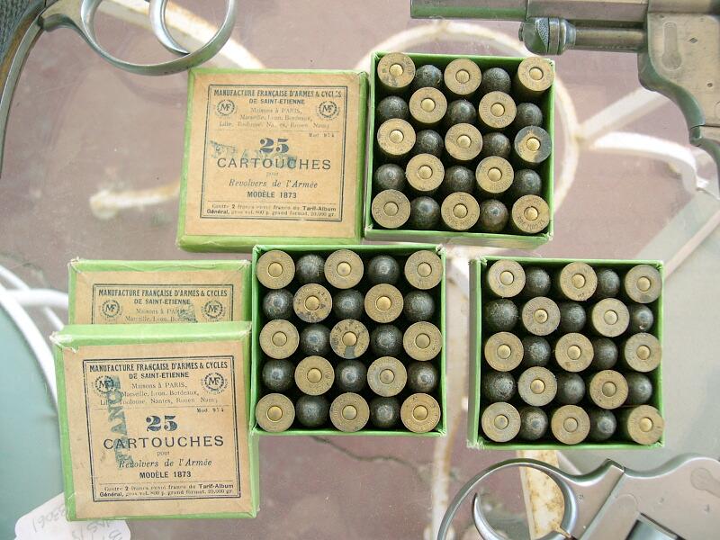 boîtes de 25 cartouches revolver de l'armée modèle 1873, Manufacture Française d'Armes et Cycles de Sait Etienne, Cartouches Gévelot et Gaupillat
