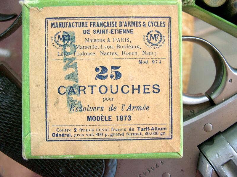 boîte de 25 cartouches revolver de l'armée modèle 1873, Manufacture Française d'Armes et Cycles de Sait Etienne, Cartouches Gévelot et Gaupillat