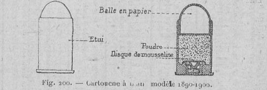 Cartouche à blanc mle 1890-1900 pour revolver mle 1873 et 1874, manuel du gradé d'infanterie de 1925