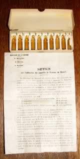 Boîte de cartouches ampoules de bromure de benzyle, pour le revolver modèle 1873 et notice