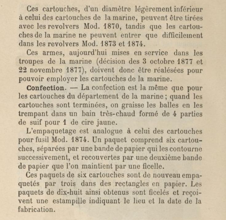 Description de la cartouche, selon le Manuel de pyrotechnie à l'usage de l'artillerie de la marine (tome 2)