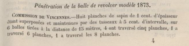 Pénétration de la balle de revolver modèle 1873