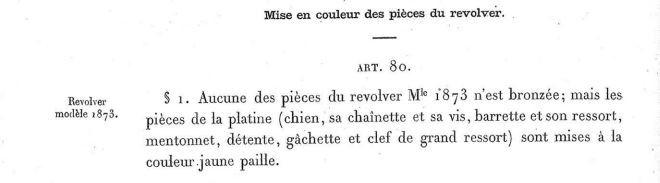 Pièces couleur jaune paille sur les revolvers modèles 1873 et 1874 selon l'Instruction sur les armes et les munitions en service dans les corps du 30 Août 1884
