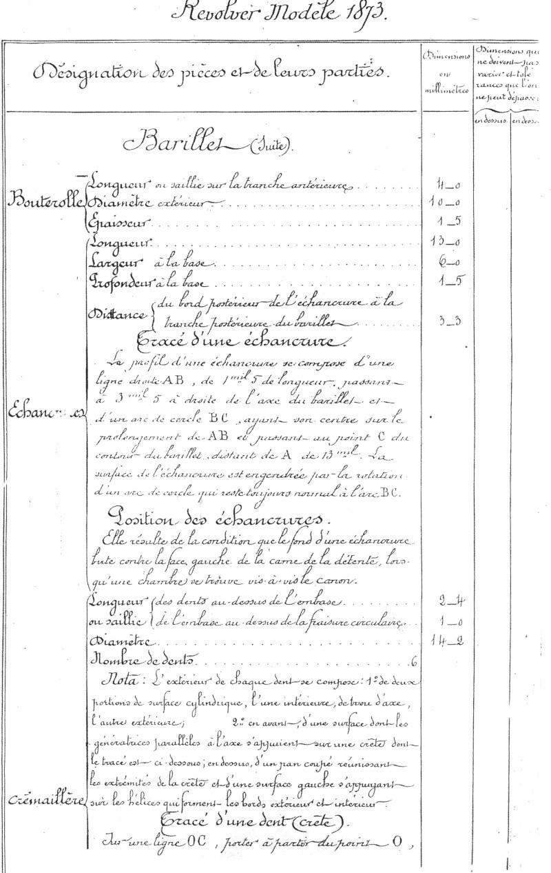 table de côtation (table des dimensions) du barillet du revolver modèle 1873