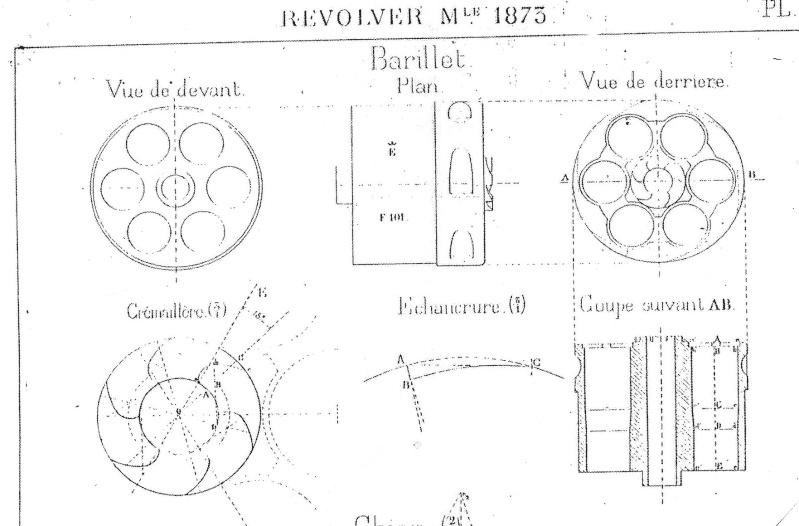 planche de côtation du barillet du revolver modèle 1873