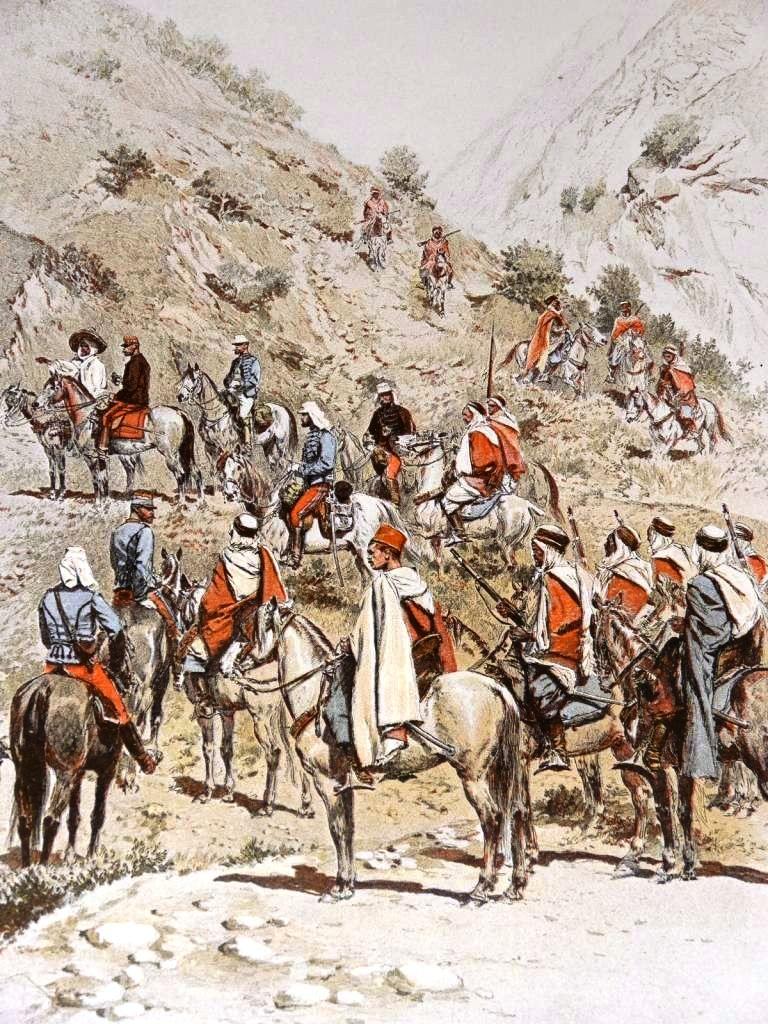 Spahis (Algérie) - Peloton d'escorte, d'après Edouard Detaille.