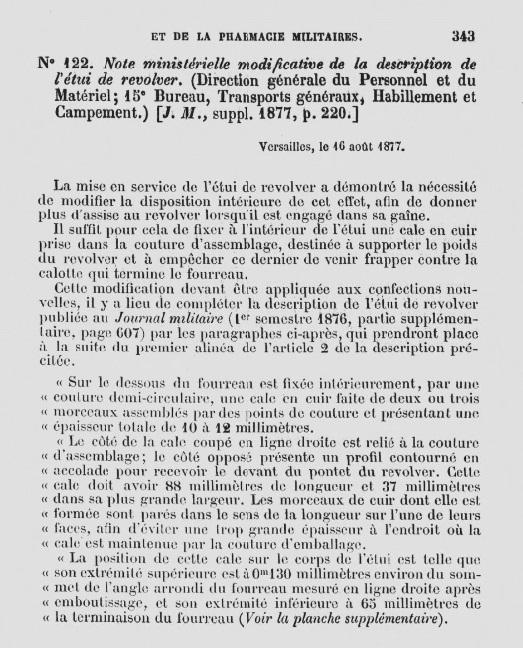 note ministérielle du 16 Août 1877 portant sur la modification de l'étui jambon