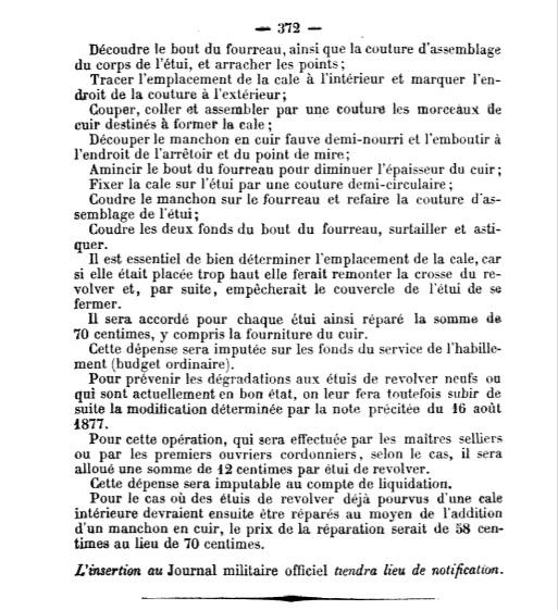 note ministérielle du 29 Septembre 1877 portant sur la réparation de l'étui jambon