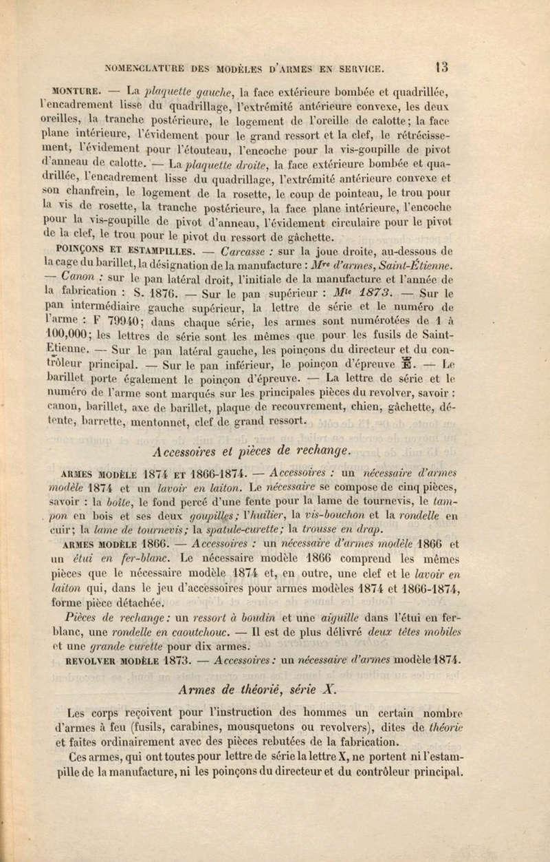 Instruction sur les armes et munitions en service dans les corps approuvée le 30 août 1884