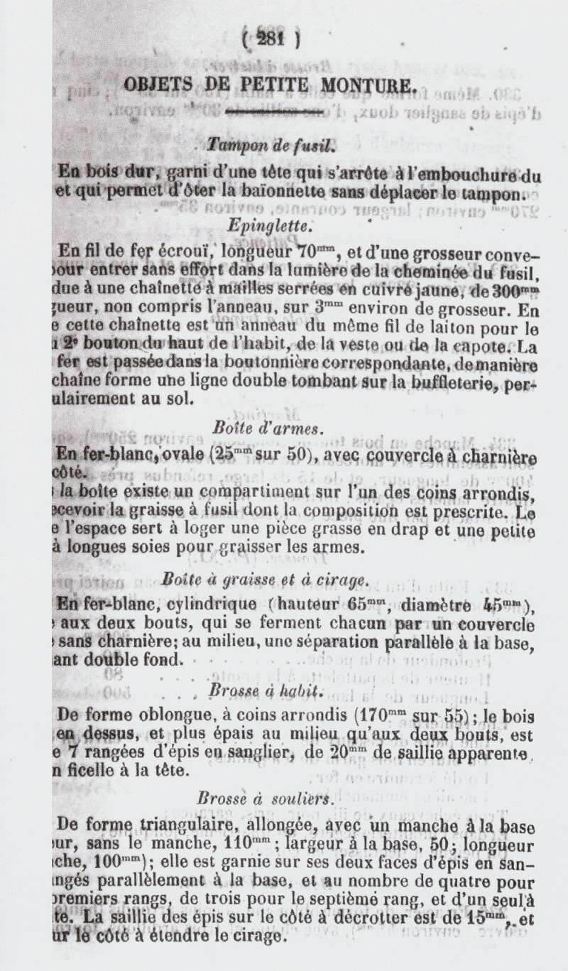 description boîte à graisse et boîte à armes dans le Journal Militaire officiel de 1845