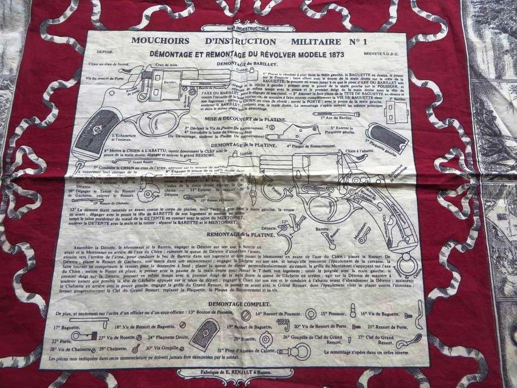 réédition d'un mouchoir d'instruction sur le revolver modèle 1873, éditée par le musée des impressions de Mulhouse