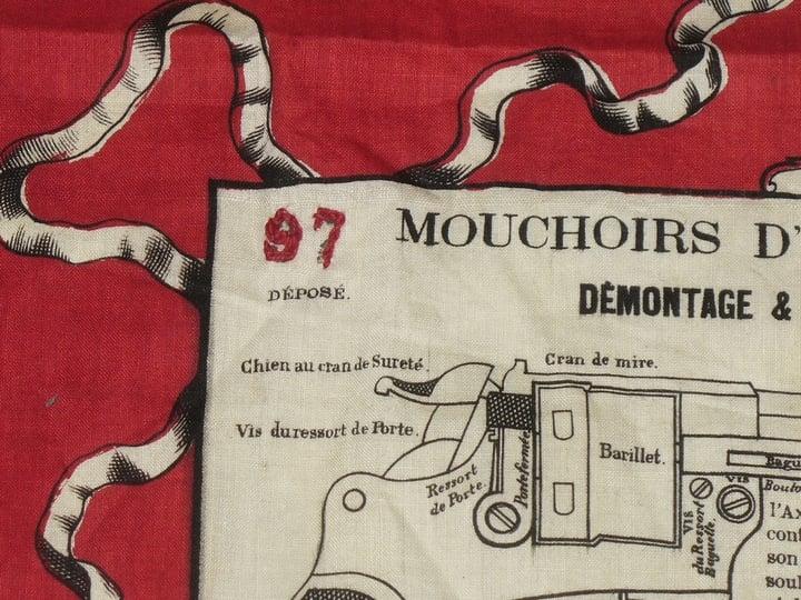 Mouchoir d'instruction pour le revolver mle 1873, matricule brodé