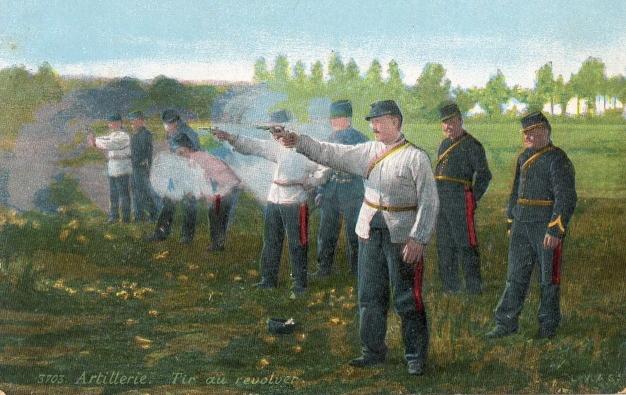 Artillerie, Tir au revolver, carte postale 3703